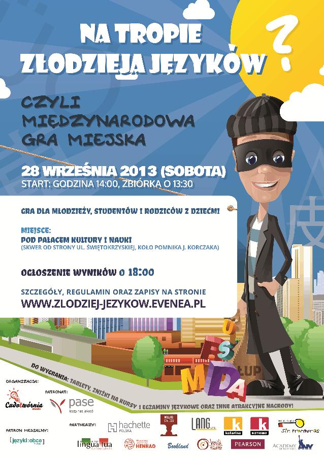Językowa gra miejska - plakat promujący